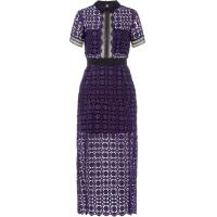 Self-Portrait Lace Midi Dress with Collar - Violett